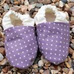 Baby booties, Purple spots and crea..