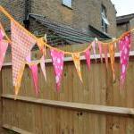 Fabric bunting - pink and orange, 6..