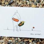 A6 New baby arrival card - orange (..