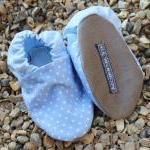 Baby Booties - Pale blue mini polka..
