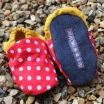 Baby booties, Red spots and mustard..