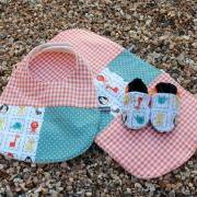 Bib, burp cloth and bootie set - CUSTOM ORDER, RESERVED