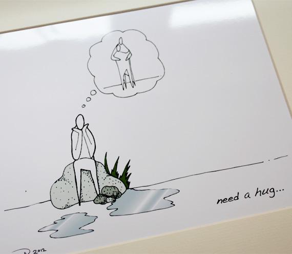 """Need a hug illustrative print (10"""" x 12"""" / 255mm x 305mm)"""