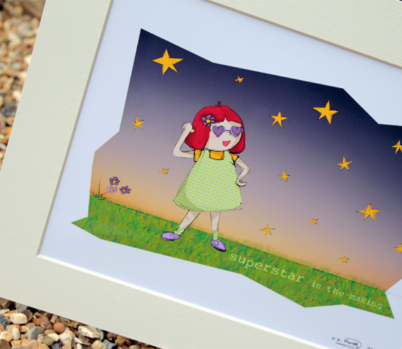 "Molly, Superstar in the making, Illustrative print (12"" x 10"" / 305mm x 255mm)"