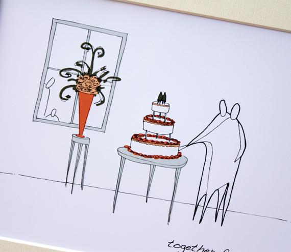 "Wedding cake, Anonymity Illustrative print (10"" x 12"" / 255mm x 305mm)"