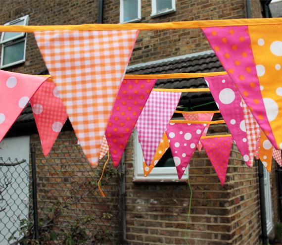 Fabric bunting - pink and orange, 6m / 19.5'