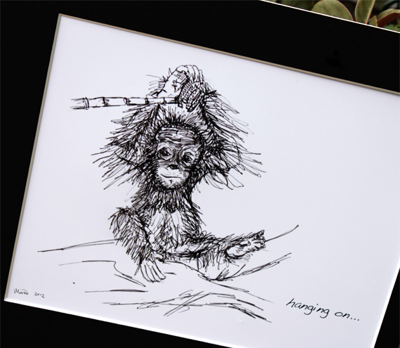 "Original art illustrative print, Orangutan (10"" x 12"")"
