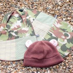 Bib, burp cloth and hat set - CUSTOM ORDER, RESERVED