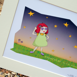 """Molly, Superstar in the making, Illustrative print (12"""" x 10"""" / 305mm x 255mm)"""