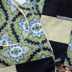 Baby bib and burp set - (navy, green, jasmine paisley)