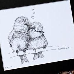 """Original art illustrative print, Lovebirds (10"""" x 12"""")"""